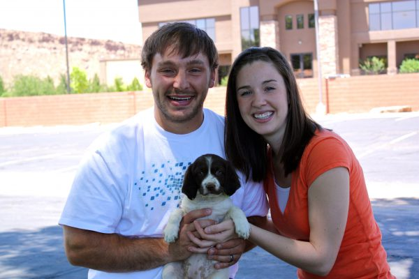 Liver and White female brittany puppy goes home with Utah couple